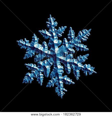 Blue relief snowflake isolated on black background. This computer-generated image based on shape of real snow crystal: large stellar dendrite with six complex, ornate arms and fine symmetry.