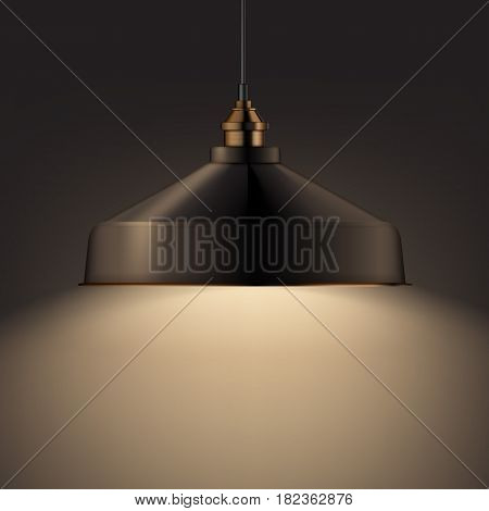 Vector bronze shining chandelier lamp front, side view close up on dark background