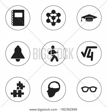Set Of 9 Editable University Icons. Includes Symbols Such As Bell, Jigsaw, Cerebrum And More. Can Be Used For Web, Mobile, UI And Infographic Design.
