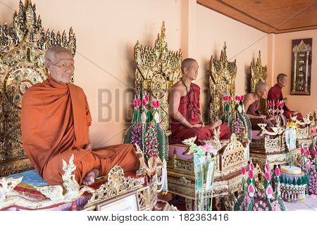 Mae Sai, Thailand. - Feb 26 2015: Buddhist Monks Statues At Wat Phra That Doi Wao. A Famous Temple I