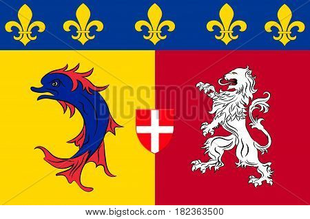 Flag of Rhone-Alpes is a former administrative region of France. Vector illustration