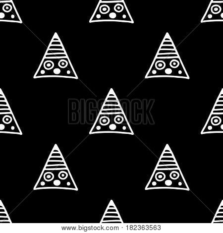 Seamless Vector Pattern. Black And White Geometrical Background With Hand Drawn Decorative Tribal El