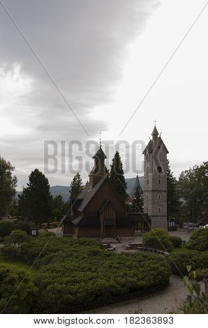 Vang Stave Church Seen On A Bleak Day.