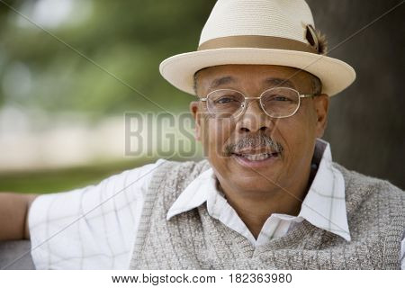 Close up of senior African man