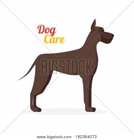 Cartoon Big Brown Dog Care Isolated on a White Background for Card Flat Design Style. Vector illustration
