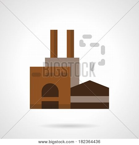 Symbol of factory building brown color. Industrial area, architecture and facilities. Flat style vector icon.