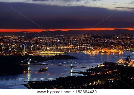 Night View Of City Skyline And Lions Gate Bridge, From Cypress Provincial Park, Vancouver, British C