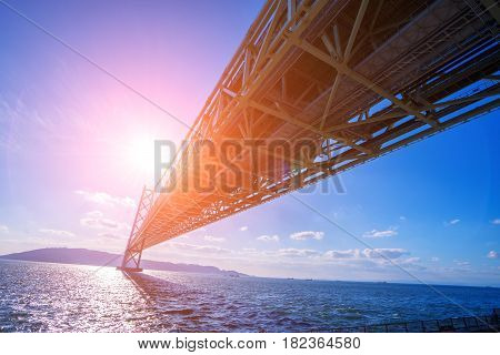 The Akashi Kaikyo Bridge Is A Suspension Bridge, Which Links The City Of Kobe On The Japanese Mainla
