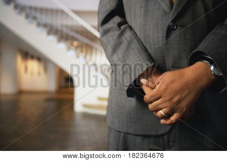 Midsection of African businessman