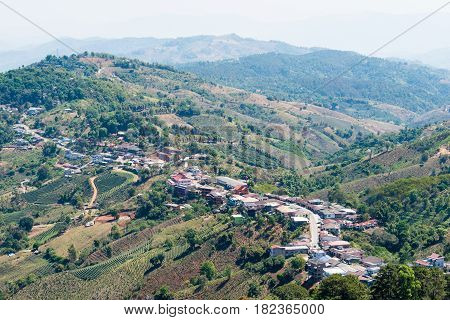 Chiang Rai, Thailand. - Feb 27 2015: View Of Mae Salong. This Village Was Shaped By The 93Rd Divisio
