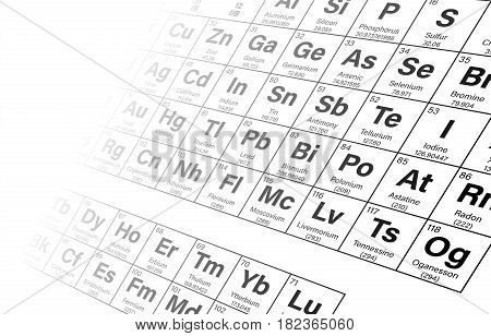 Periodic Table of the Elements in Perspective View Background Vector Illustration - shows atomic number, symbol, name and atomic weight - including 2016 the four new elements Nihonium, Moscovium, Tennessine and Oganesson