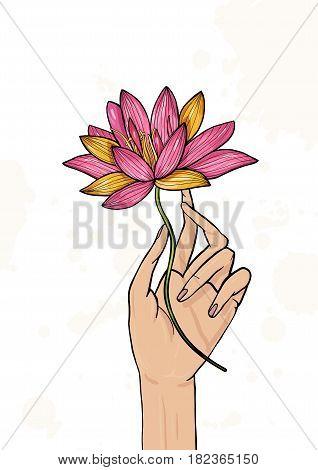 Hand holding lotus flower. Colorful hand drawn illustration. yoga, meditation, awakening symbol