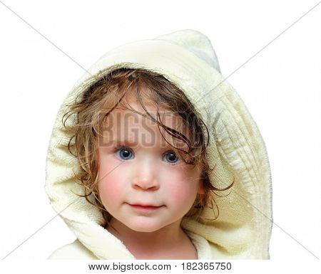 cute girl in bathrobe portrait 2 years old
