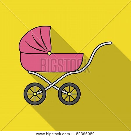 Pram icon in flate style isolated on white background. Baby born symbol vector illustration.