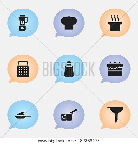 Set Of 9 Editable Food Icons. Includes Symbols Such As Pastry, Bakery, Filtering And More. Can Be Used For Web, Mobile, UI And Infographic Design.