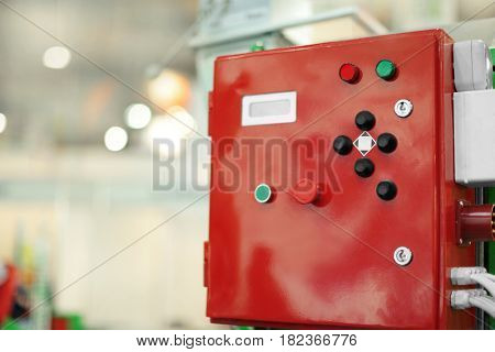 Electric control box on blurred background