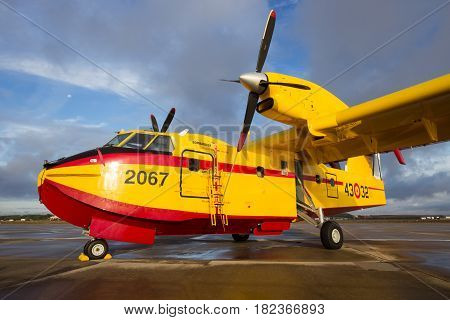 TORREJON SPAIN - OCT 11 2014: Bombardier CL415 Superscooper airplane. The aircraft is designed and built specifically for aerial firefighting.