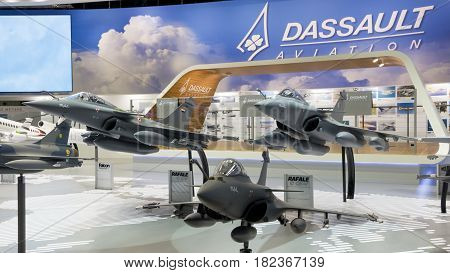 PARIS - LE BOURGET - JUN 18 2015: Mock-up planes at a stand of the French aircraft manufacturer Dassault Aviation during the 51st International Paris Air show.