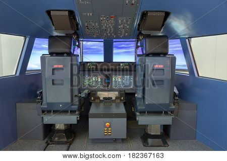 PARIS - JUN 18 2015: Flight simulator on display at the 51st International Paris Air show.