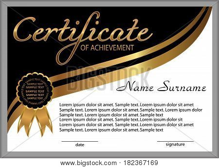 Certificate of achievement diploma. Reward. Winning the competition. Award winner. Gold and black decorative elements. Vector illustration.