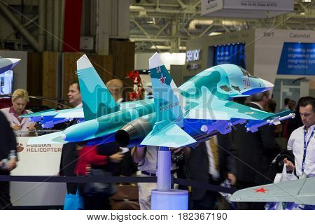 PARIS - LE BOURGET - JUN 18 2015: Mock-up planes at a stand of the Russian United Aircraft Corporation company during the 51st International Paris Air show.