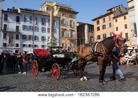 Rome, Italy: Feb 17. 2017 - Piazza della Rotonda - buildings and dramatic sky, Rome, Italy.