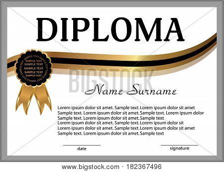 Diploma or certificate. Gold and black decorative elements. Reward. Winning the competition. Award winner. Vector illustration.