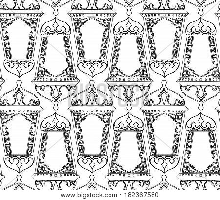 Seamless black and white texture with outline of arabic lantern. Ramadan lantern. The Muslim festival of Ramadan. Vector pattern for your creativity