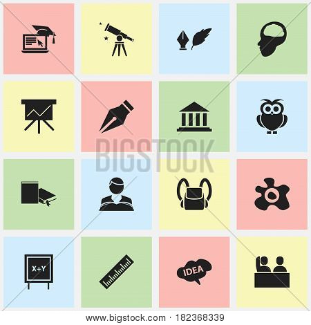Set Of 16 Editable Graduation Icons. Includes Symbols Such As Studying Boy, Nib, Museum And More. Can Be Used For Web, Mobile, UI And Infographic Design.