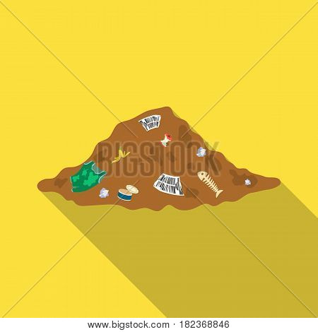 Dump icon in outline design isolated on white background. Bio and ecology symbol stock vector illustration.
