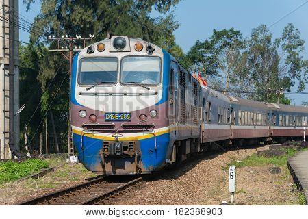 Hue, Vietnam - Jan 23 2015: Vietnam Railways D19E Diesel Locomotives. D19E Currently Used On The Vie