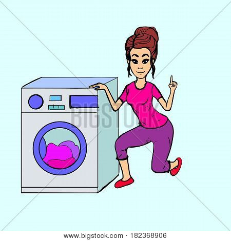 Woman with a sick car. Simpotichnaya Housewife with a raised index finger warning about a possible breakdown. laundry.