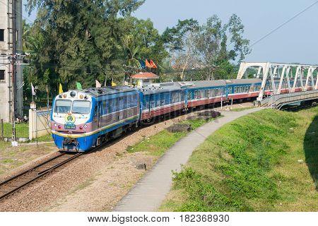 Hue, Vietnam - Jan 24 2015: Vietnam Railways D19E Diesel Locomotives. D19E Currently Used On The Vie