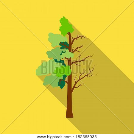 Tree half full of green leaf and half dry icon in outline design isolated on white background. Bio and ecology symbol stock vector illustration.