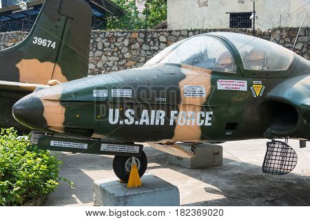Ho Chi Minh City, Vietnam - Jan 27 2015: Cessna A-37 Dragonfly At War Remnants Museum. A Famous Hist