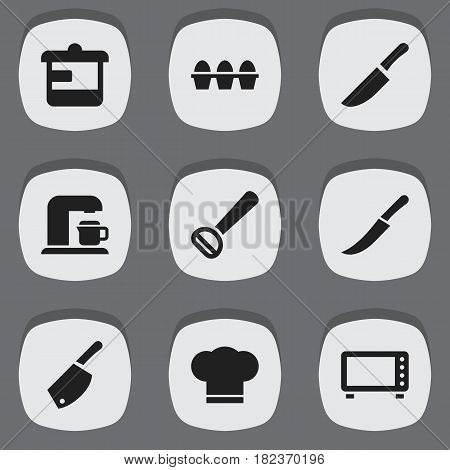 Set Of 9 Editable Food Icons. Includes Symbols Such As Husker, Egg Carton, Knife And More. Can Be Used For Web, Mobile, UI And Infographic Design.