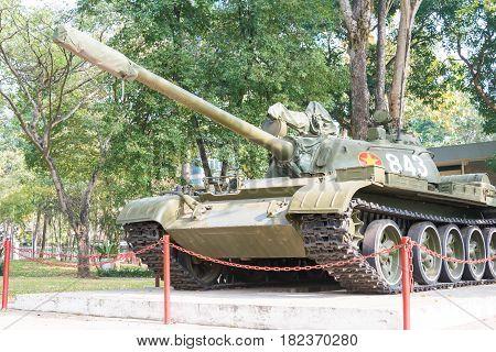 Ho Chi Minh City, Vietnam - Jan 26 2015: T-54 Tank At Independence Palace. A Famous Historical Museu
