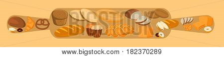 Bakery design concept with rolling pin and bread, sweet bun, cookies, croissant, cake, donut products