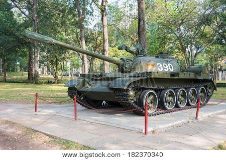 Ho Chi Minh City, Vietnam - Jan 26 2015: T-59 Tank At Independence Palace. A Famous Historical Museu