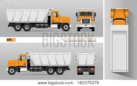 Vector dump truck. Tipper lorry on transparent background. All elements in the groups have names the view sides are on separate layers for easy editing. View from side back front and top.