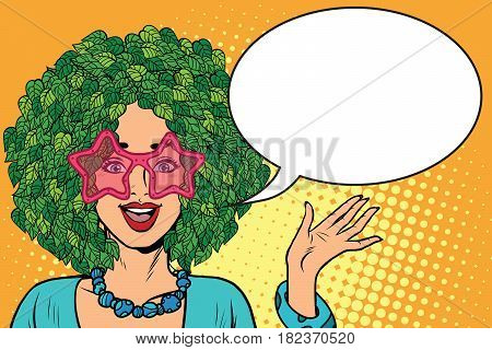 Environmentalist woman with hair in a forest. Eco green plants nature. Pop art retro vector illustration