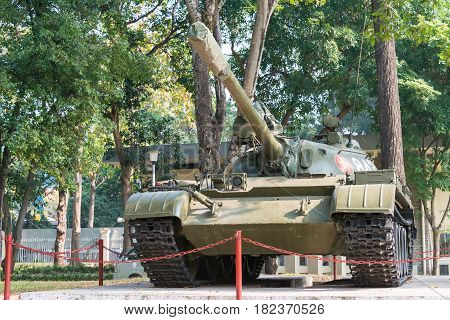 Ho Chi Minh City, Vietnam - Jan 26 2015: T-54 Tank At Independence Palace. A Famous Historical Museu