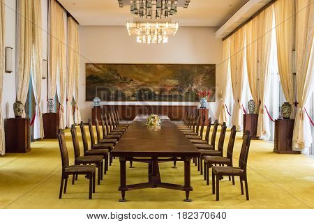 Ho Chi Minh City, Vietnam - Jan 26 2015: State Banqueting Hall At Independence Palace. A Famous Hist