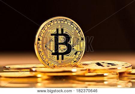 golden coin of bitcoin virtual money concept