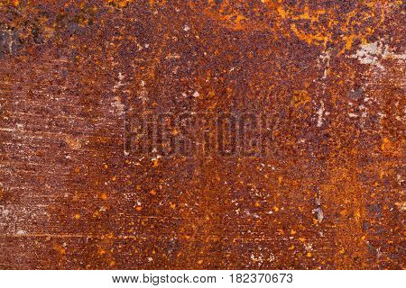 closeup of real rust on iron metal plate