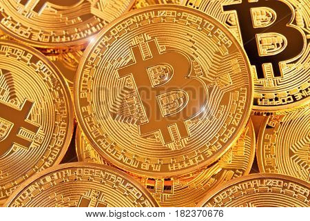 golden coin of bitcoin virtual money concept