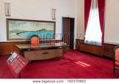 Ho Chi Minh City, Vietnam - Jan 26 2015: Presidential Office At Independence Palace. A Famous Histor