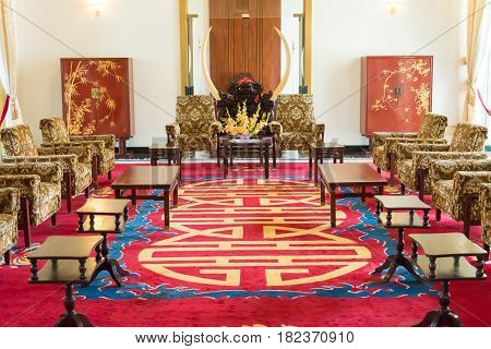 Ho Chi Minh City, Vietnam - Jan 26 2015: Presidential Reception Rooms At Independence Palace. A Famo