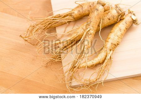 Korean fresh ginseng over wooden texture