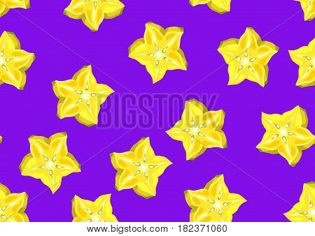 Seamless pattern with star fruit carambola. Illustration of tropical plant.